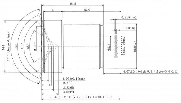 2,8mm 2MP MEGAPIXEL BOARD-LENS-IR BL-2M02820MP129IRC