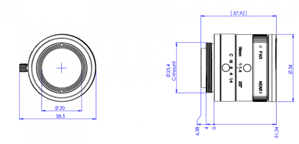 16 mm C-Mount Objektiv Opto Engineering EN2MP1614