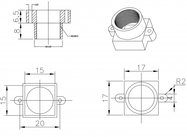 Objektivhalterung Lensholder M12x0,5 20/14,5