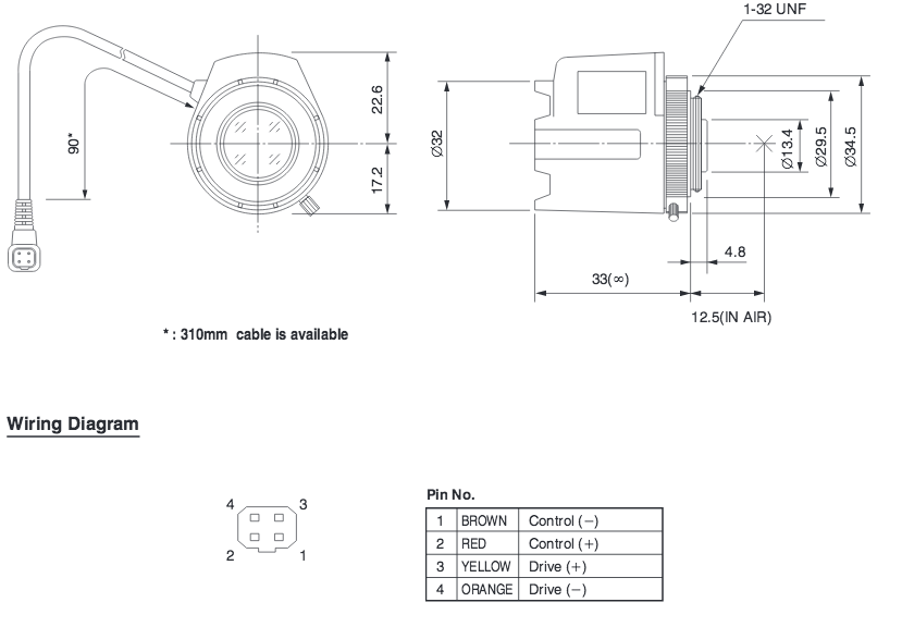4,0 mm CS-Mount Comr Objektiv TG0412FCS DC W Wiring Diagram on