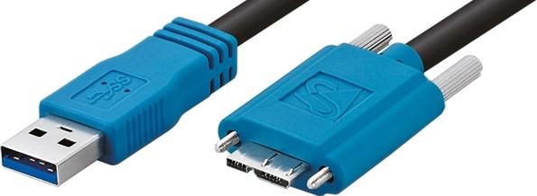 USB 3.0, Standardkabel, gerade, verschraubbar, 3m The Imaging Source CA-USB30-AmB-BLS/3