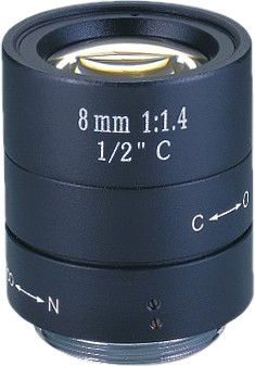 8 mm C-Mount Objektiv 1/2""