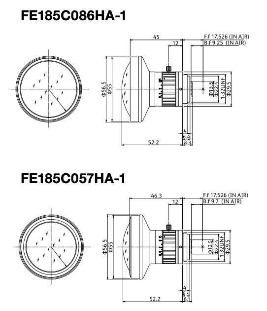Fujinon-FE185-Fisheye-Lens-series-Drawing