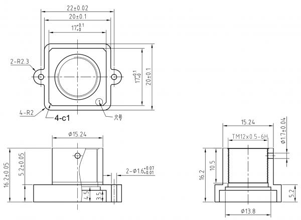 Objektivhalterung Lensholder M12x0,5 22/16,2