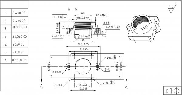 Objektivhalterung Lensholder M12x0,5 22/9,4
