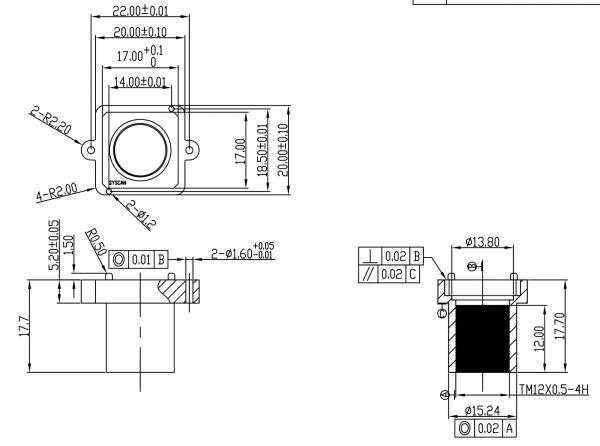 Objektivhalterung Lensholder M12x0,5 22/17,7